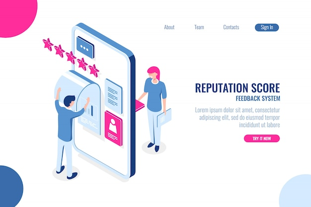 Isometrisches konzept der reputationsbewertung, meinung mit stern auf der handy-app, feedback Kostenlosen Vektoren