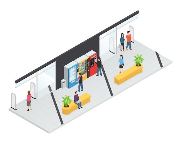 Isometrisches konzept der verkaufsautomaten mit nahrungsmittel- und getränkemaschinen Kostenlosen Vektoren