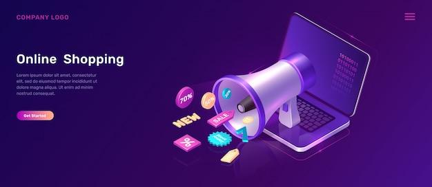 Isometrisches konzept des digital-marketings mit megaphon Kostenlosen Vektoren