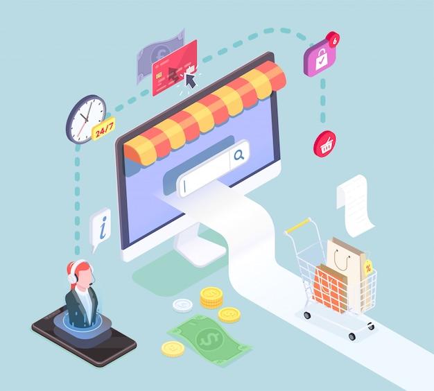 Isometrisches konzept des einkaufs-e-commerce mit piktogrammsymbolbildern von intelligenten elektronischen geräten und der vektorillustration der geldsymbole Kostenlosen Vektoren