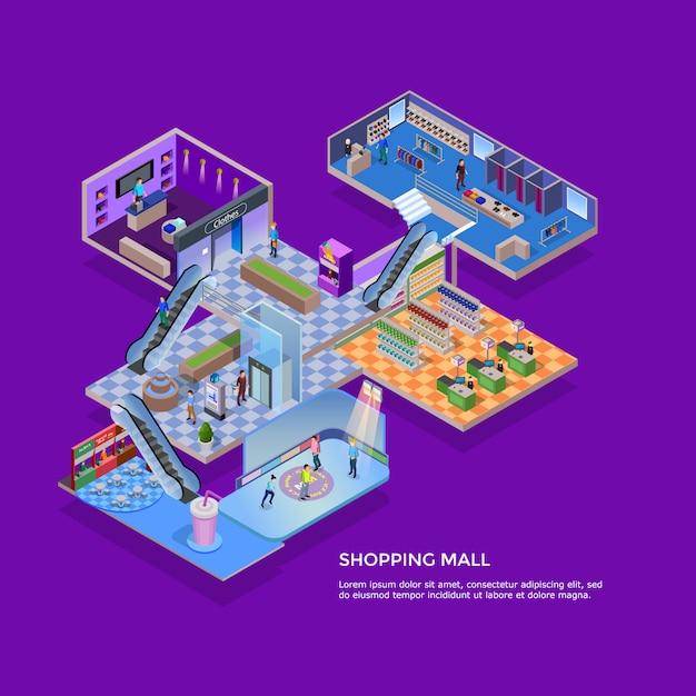 Isometrisches konzept des einkaufszentrums Kostenlosen Vektoren