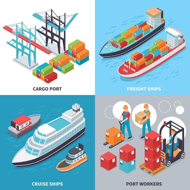 Isometrisches konzept des entwurfes mit fracht- und kreuzschiffen und seehafenarbeitskräften Kostenlosen Vektoren