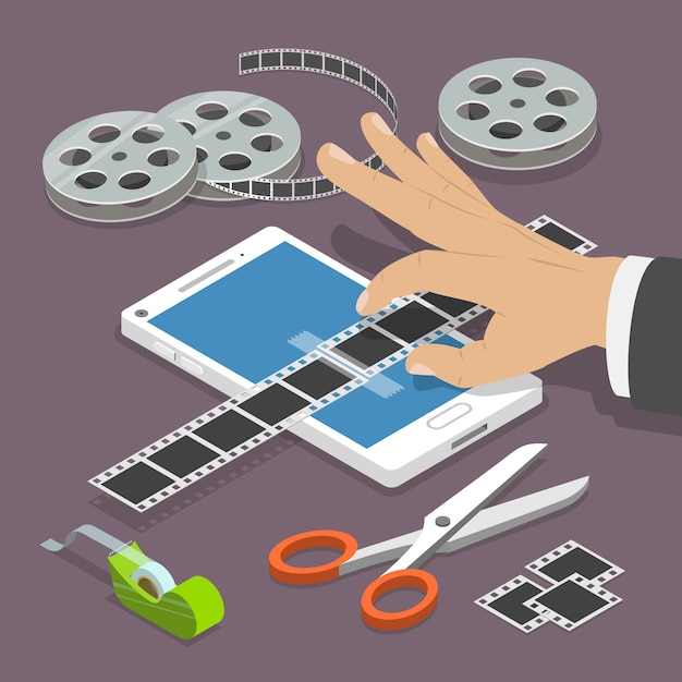 Isometrisches konzept des mobilen vektors des videoeditors flachen. Premium Vektoren
