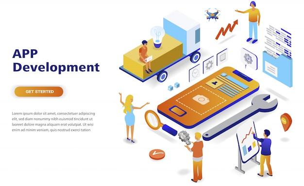 Isometrisches konzept des modernen flachen designs app-entwicklung Premium Vektoren