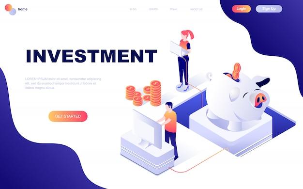 Isometrisches konzept des modernen flachen designs der geschäfts-investition Premium Vektoren