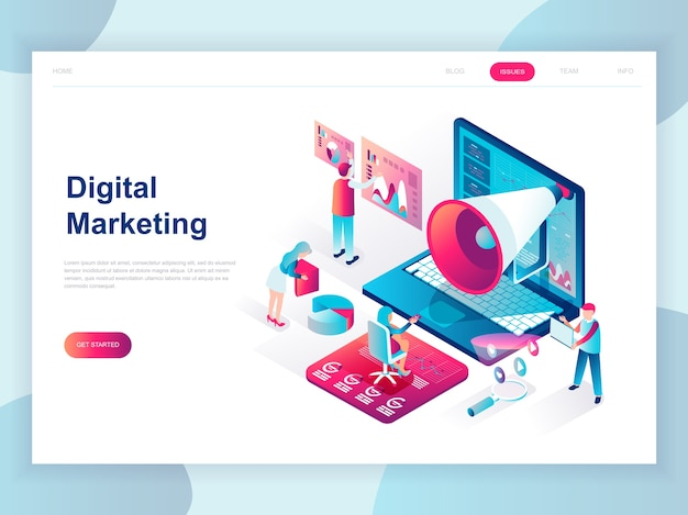 Isometrisches konzept des modernen flachen designs des digital-marketings Premium Vektoren
