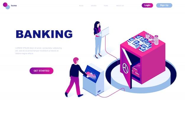 Isometrisches konzept des modernen flachen designs des online-bankings Premium Vektoren