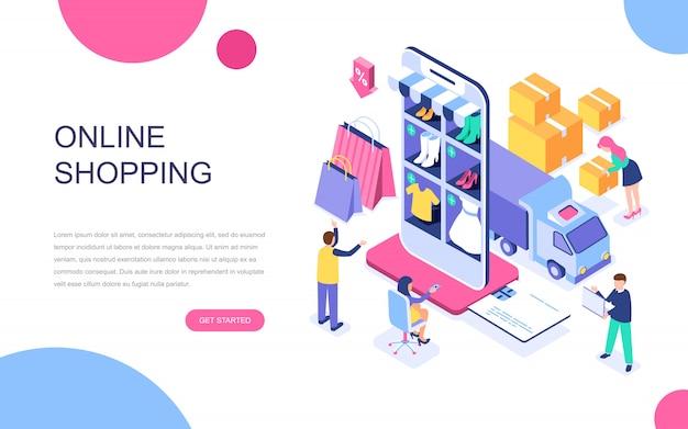 Isometrisches konzept des modernen flachen designs des online-shoppings Premium Vektoren