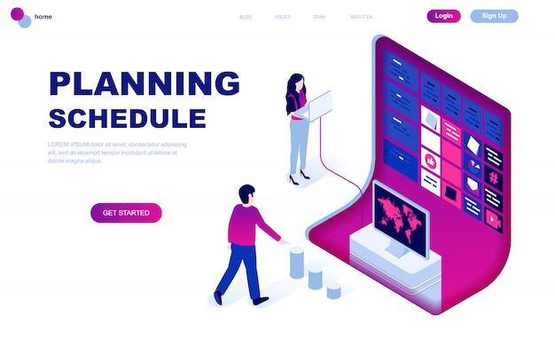 Isometrisches konzept des modernen flachen designs des planungszeitplans Premium Vektoren