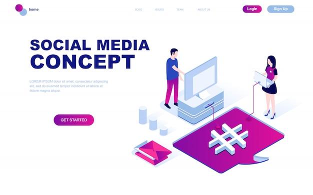 Isometrisches konzept des modernen flachen designs des social media Premium Vektoren