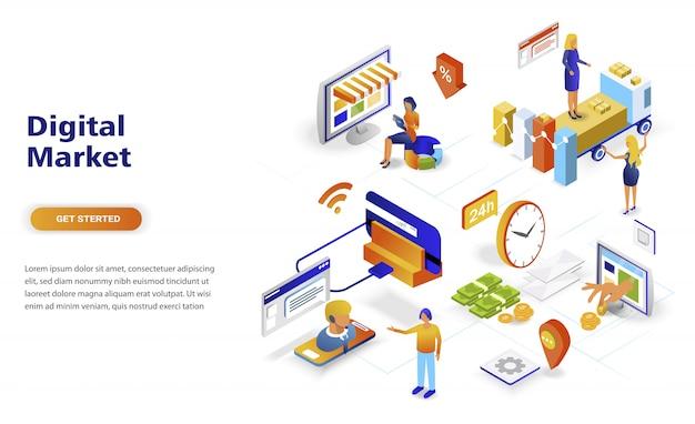 Isometrisches konzept des modernen flachen designs digital-marketings Premium Vektoren