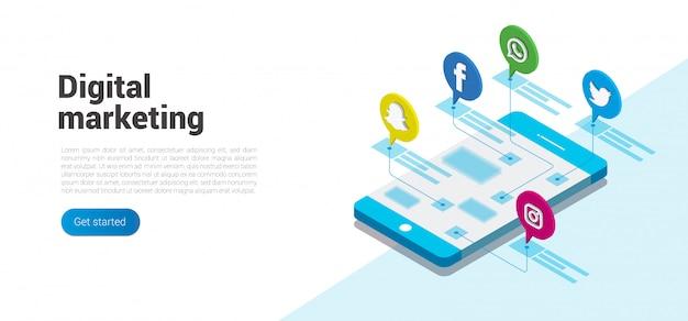 Isometrisches konzept des modernen flachen designs von social media und von digitalem marketing Premium Vektoren