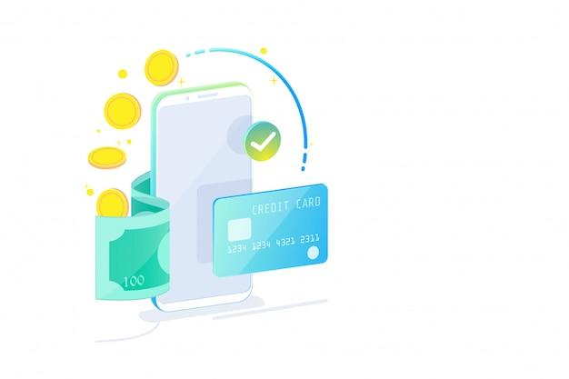 Isometrisches konzept des on-line-beweglichen bankwesens und des internet-bankwesens, bargeldlose gesellschaft, sicherheitstransaktion über kreditkarte. Premium Vektoren