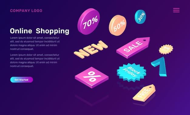 Isometrisches konzept des on-line-einkaufens mit verkaufsikonen Kostenlosen Vektoren