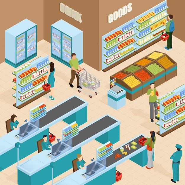 Isometrisches konzept des supermarktes Kostenlosen Vektoren