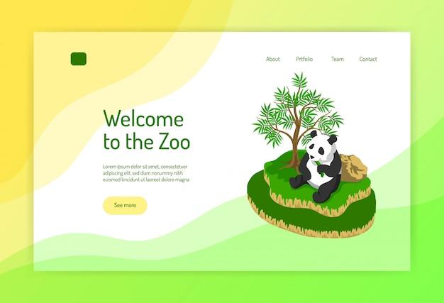 Isometrisches konzept des zoos der webseite mit panda während des essens nahe baum auf farbe Kostenlosen Vektoren