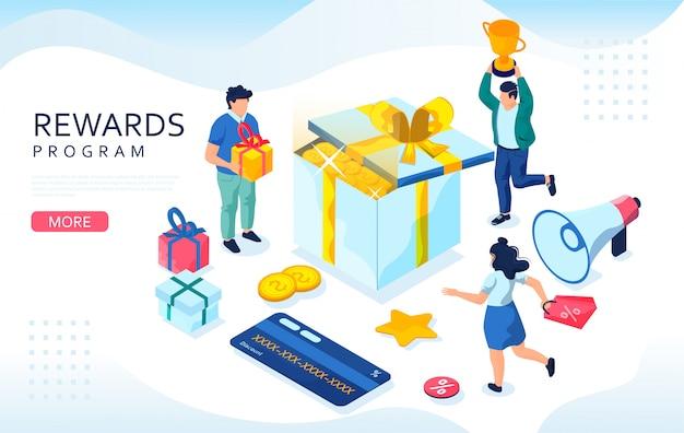 Isometrisches konzept für online-belohnungen. web-einzelhandelskunden, geschenkboxen und bonuskarte. konzept des treueprogramms, bonus oder belohnung. Premium Vektoren