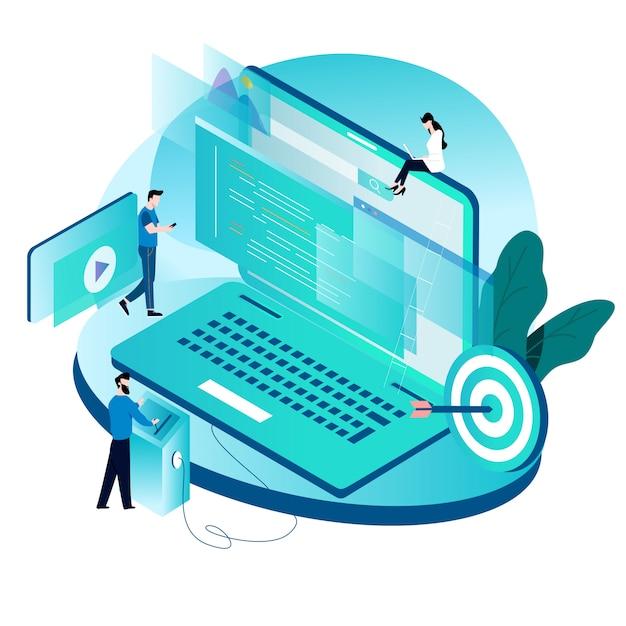 Isometrisches konzept für programmierung, programmierung, website- und anwendungsentwicklung Premium Vektoren