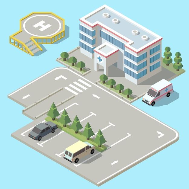 Isometrisches krankenhaus 3d mit dem parken. hubschrauberlandebahn für krankenwagenfahrzeug, flugzeuge. Kostenlosen Vektoren