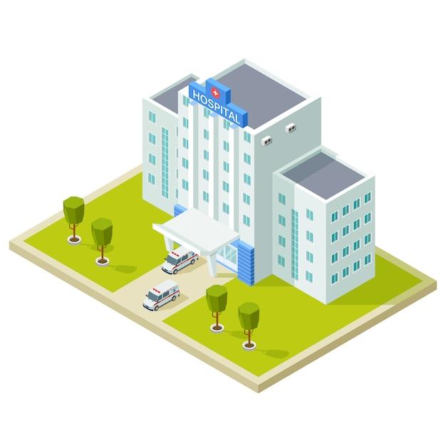 Isometrisches krankenhausgebäude und krankenwagen Premium Vektoren
