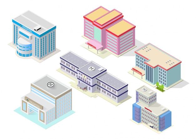 Isometrisches krankenhausgebäudeset Premium Vektoren