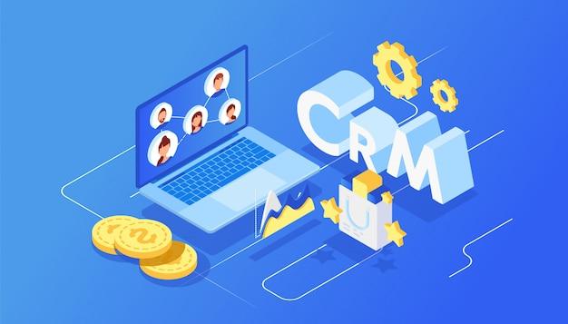 Isometrisches kundenbeziehungsmanagement Premium Vektoren