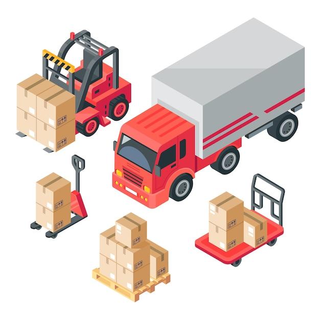 Isometrisches lager. lager-, lager-, lkw-, gabelstapler- und gabelpalettenwagen. pappkartons und holzpaletten. logistik 3d Premium Vektoren