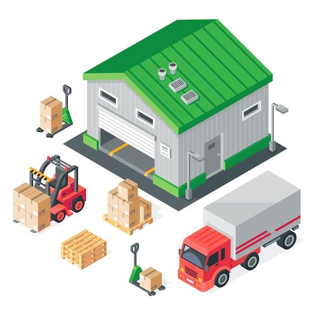 Isometrisches lager. lagerung, lagerbau, lkw, gabelstapler und gabelpalettenwagen. Premium Vektoren