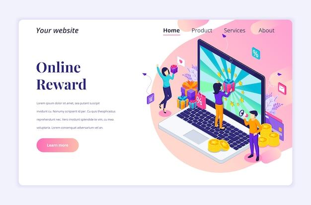 Isometrisches landingpage-designkonzept der online-belohnung. eine gruppe glücklicher menschen erhält eine geschenkbox vom online-treueprogramm Premium Vektoren