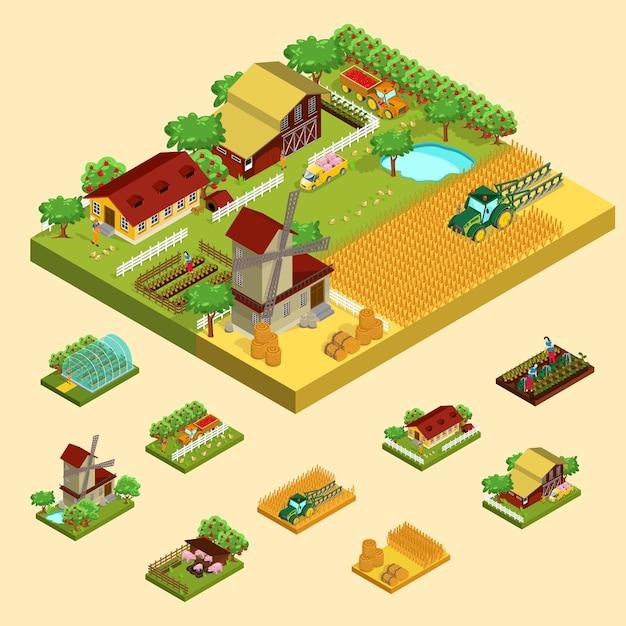 Isometrisches landwirtschaftskonzept Kostenlosen Vektoren
