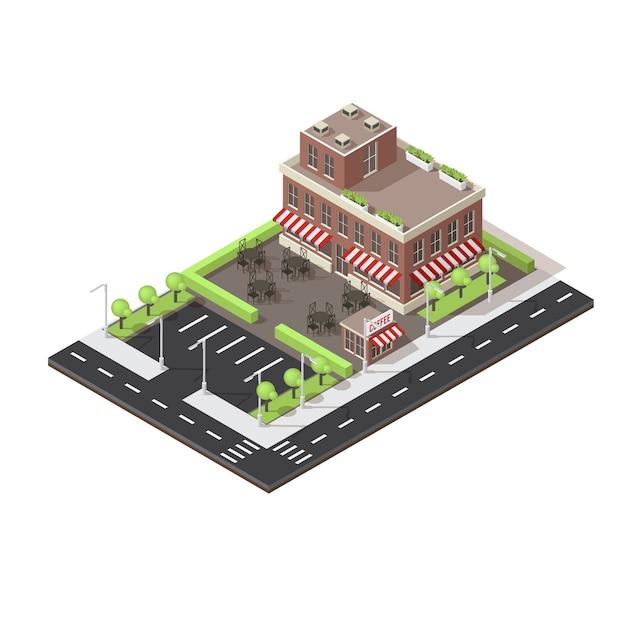 Isometrisches layout des cafe-gebäudes Kostenlosen Vektoren