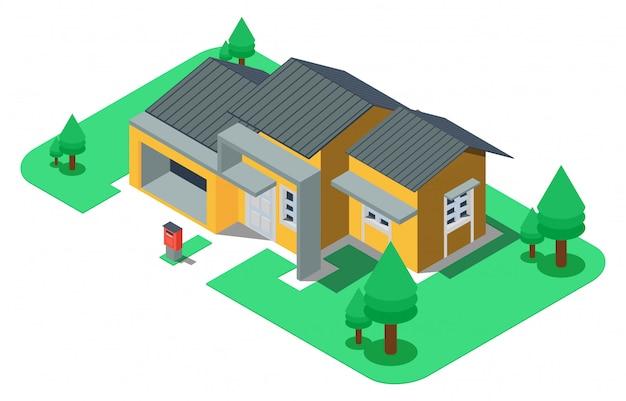 Isometrisches luxushaus mit großem garten Premium Vektoren