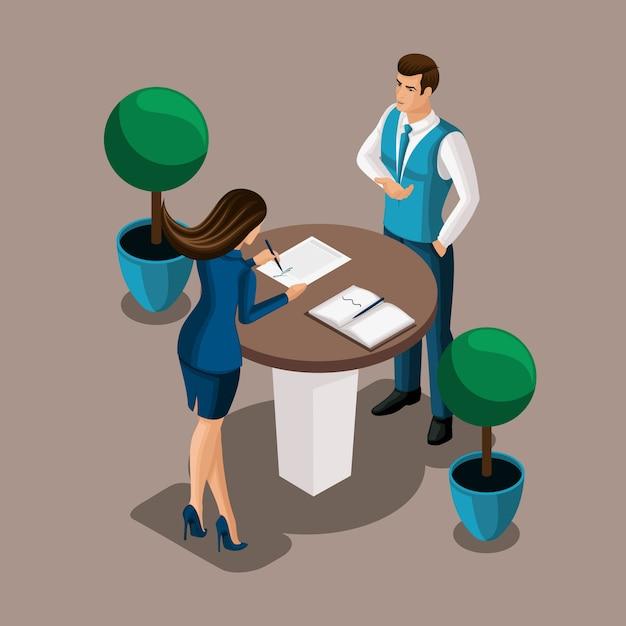 Isometrisches mädchen der unternehmer unterschreibt den vertrag im büro der bank, der bankangestellte schließt den vertrag. darstellung einer bankenstruktur Premium Vektoren
