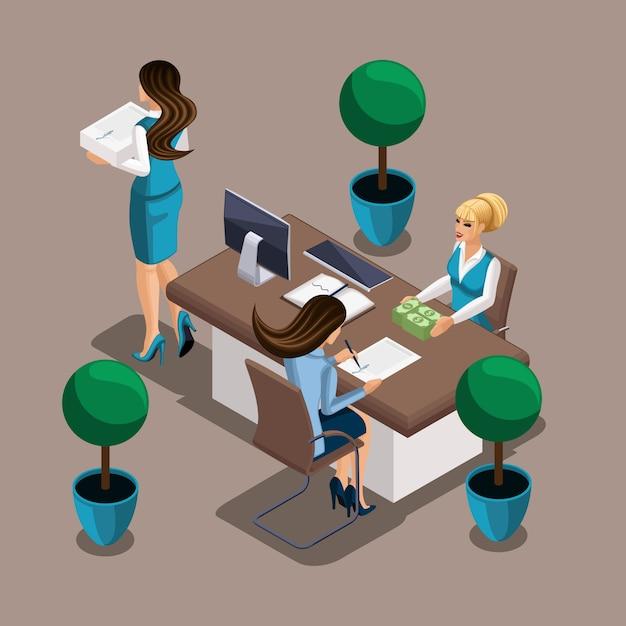 Isometrisches mädchen der unternehmer unterzeichnet einen kreditvertrag mit der bank. der bankangestellte gibt bargeld aus. eigenes geschäft, arbeiten sie für sich Premium Vektoren