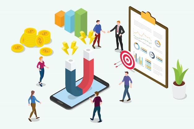 Isometrisches marketingkonzept der kundenbindung 3d Premium Vektoren