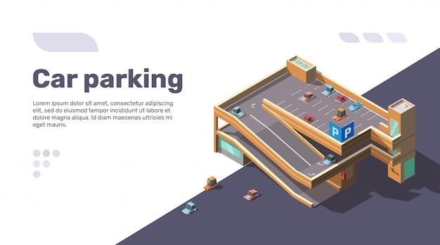 Isometrisches mehrstöckiges autoparken mit aufzug Kostenlosen Vektoren
