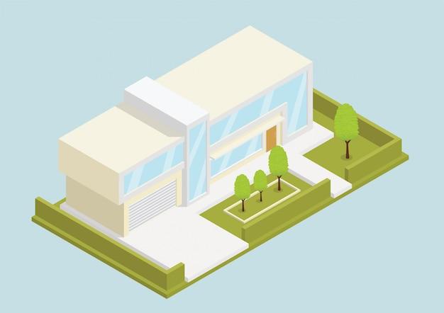 Isometrisches modernes haus Premium Vektoren