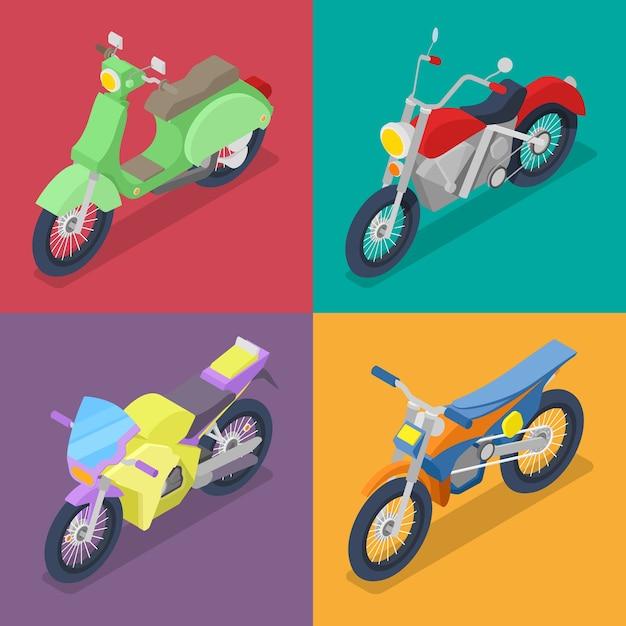 Isometrisches motorrad-set mit motocross und roller Premium Vektoren
