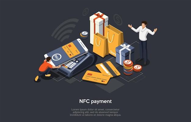 Isometrisches nfc-zahlungskonzept. online-, mobiles und bargeldloses konzept. der kunde bezahlt waren per smartphone, nfc-technologie, bankkreditkarten und einkäufen Premium Vektoren