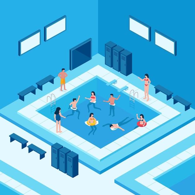 Isometrisches öffentliches schwimmbad Kostenlosen Vektoren
