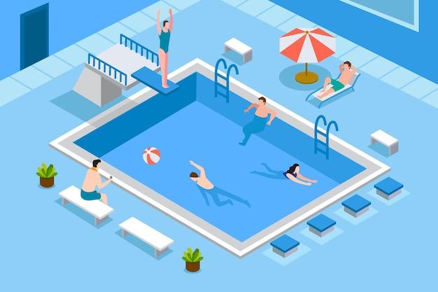 Isometrisches öffentliches schwimmbad Premium Vektoren
