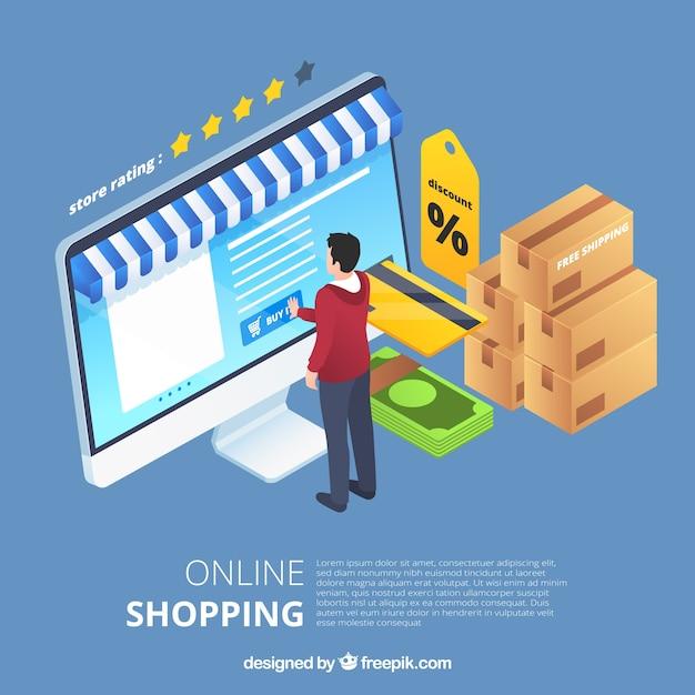 Isometrisches on-line-einkaufskonzept Kostenlosen Vektoren