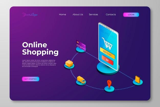 Isometrisches online-landingpage-konzept für einkäufe Kostenlosen Vektoren