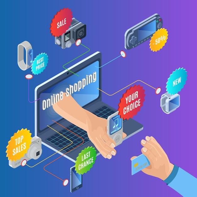 Isometrisches online-shopping-konzept Kostenlosen Vektoren