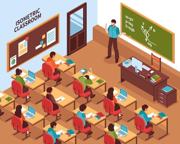 Isometrisches plakat der schulklassenzimmer-lektion Kostenlosen Vektoren