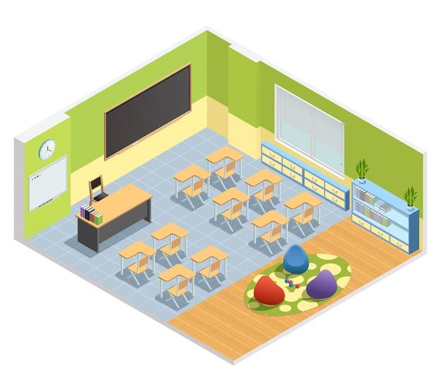 Isometrisches plakat des klassenzimmers mit tafeltabelle für lehrerschülertische Kostenlosen Vektoren