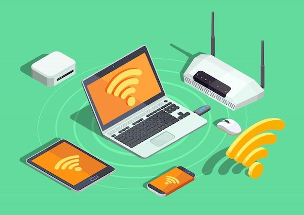 Isometrisches poster der drahtlosen technologie-elektronischen geräte Kostenlosen Vektoren