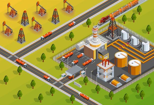 Isometrisches poster der oill industry raffinerie-einrichtung Kostenlosen Vektoren