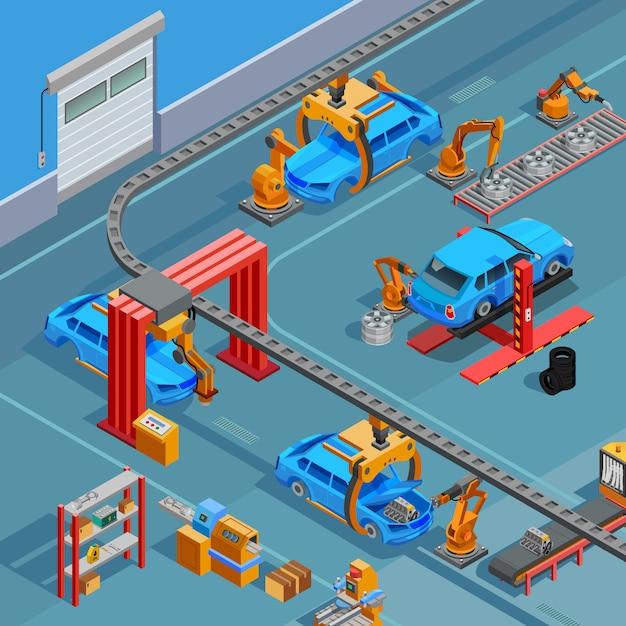 Isometrisches poster des förderer-automobilherstellungssystems Premium Vektoren