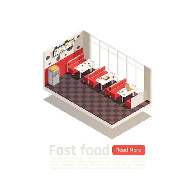 Isometrisches poster für ein gemütliches fast-food-restaurant mit tischen, stühlen und menümonitoren Kostenlosen Vektoren